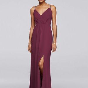 David's Bridal Wine Burgundy Bridesmaid Dress